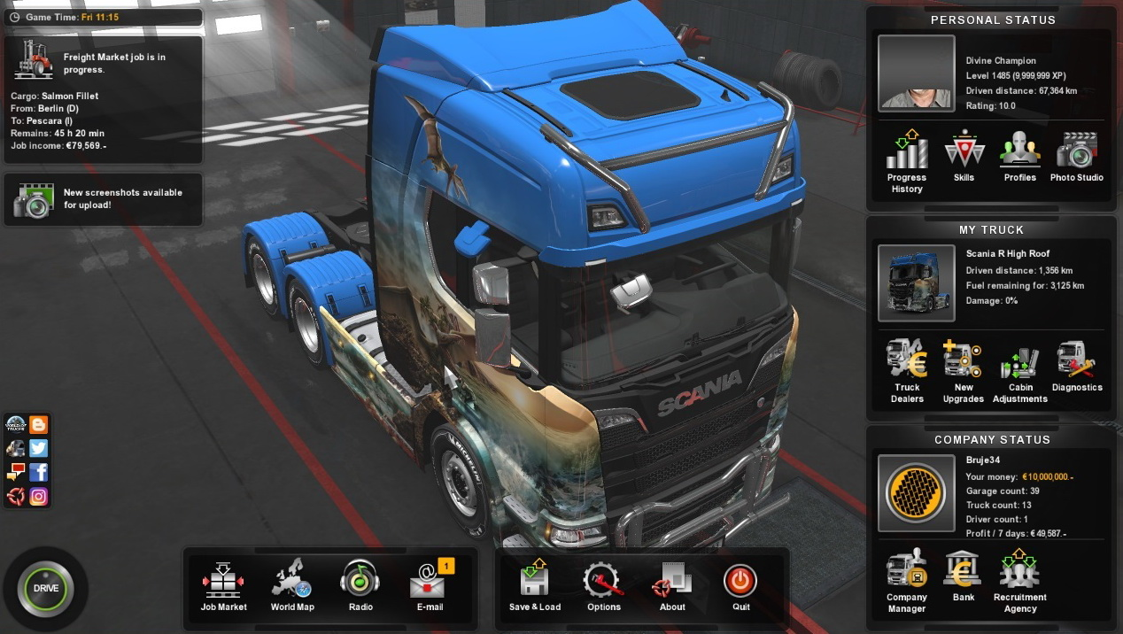 game trainers euro truck simulator 2 14. Black Bedroom Furniture Sets. Home Design Ideas