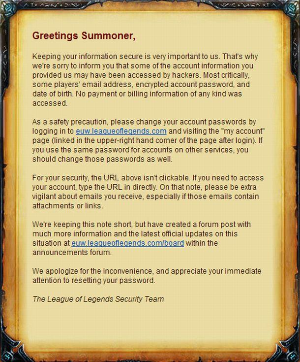 News: League of Legends EU Accounts Hacked | MegaGames