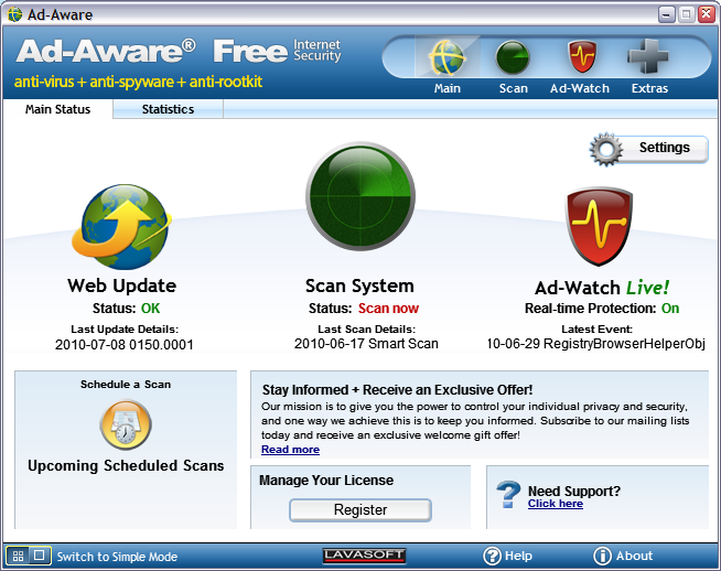 Free Internet Security >> Tools Ad Aware Free Internet Security Megagames