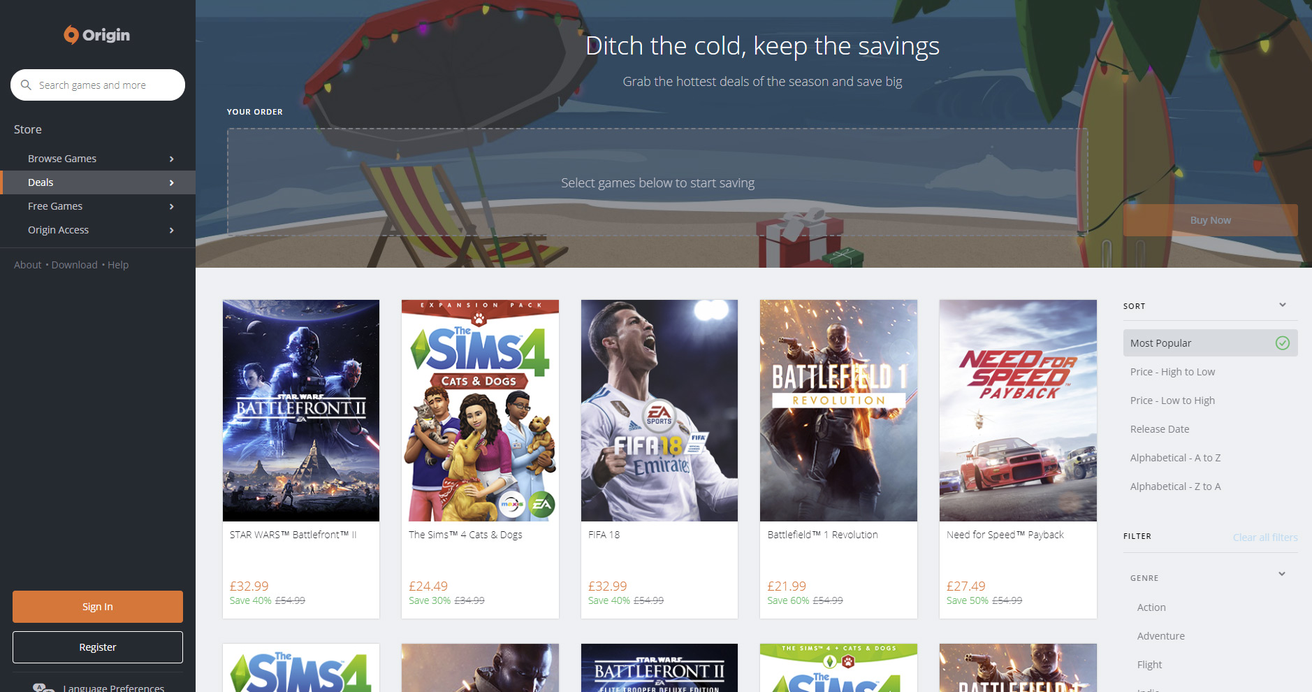 news ea launches origin holiday sale heavily discounts everything